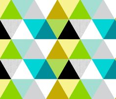 Mustard lime Sketch Triangle Quilt fabric by tycdesignco on Spoonflower - custom fabric