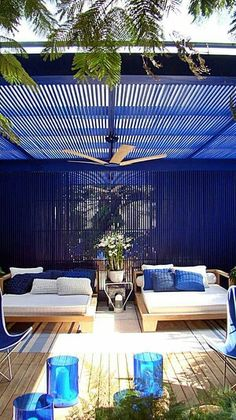 Pergola-like awnings are great for creating your personal outdoor oasis. Outdoor Rooms, Outdoor Gardens, Outdoor Living, Outdoor Furniture Sets, Outdoor Decor, Wooden Furniture, Outdoor Lounge, Outdoor Ideas, Antique Furniture