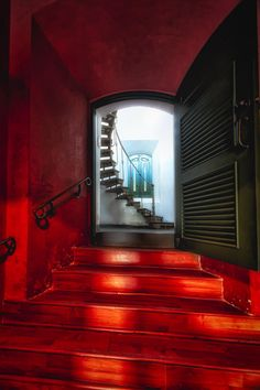 Red Doorway To A Spiral Staircase | Cabo Rojo Lighthouse | Puerto Rico | Photo By George Oze