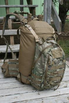 Hill People Gear C20M Pack Bag on Mystery Ranch NICE Frame w/Grey Ghost Gear pack as compression panel