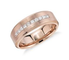 Perfect Princess Cut Channel Set Diamond Wedding Ring in k Rose Gold