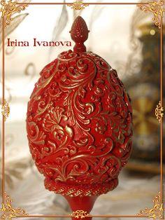 Купить Красное пасхальное яйцо Жар-птица. Пасхальный подарок. Сувенир. - красное пасхальное яйцо