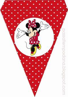 Banderines de Minnie vestido y moño rojo - Decoracion cumpleaños de Minnie…