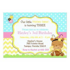 Girls Teddy Bear Picnic Birthday Invitation
