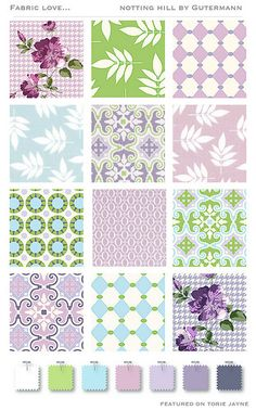 Notting Hill collection by Gütermann Notting Hill, Fabulous Fabrics, Color Inspiration, Sweet Home, Cotton Fabric, Colours, Quilts, Blanket, Sewing