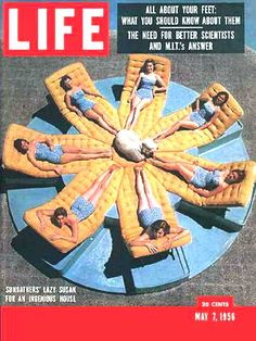 Sunbathers on a lazy susan,Lifemagazine, May 1956.
