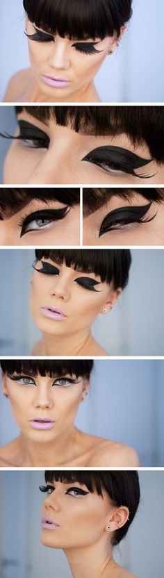 the false eyelashes ruined it. the eyeliner is bold enough without adding such ridiculously long lashes...