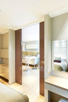 Selo concealed double sliding pocket door system at Cheval 3 Quays Sliding Pocket Doors, Sliding Door Systems, Contemporary Internal Doors, Contemporary Interior, Architrave, Floor Space, Bungalow, Design Ideas, Flooring