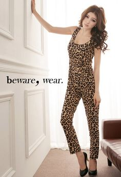Fashionable Sexy Sleeveless Leopard Slim Jumpsuit Leopard