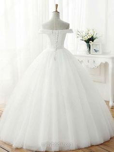 Ball Gown Off-the-shoulder Tulle Floor-length Sashes / Ribbons Original Wedding Dresses