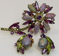 Vintage Amethyst Iridescent Rhinestone Flower Brooch  by jujubee1, $52.00