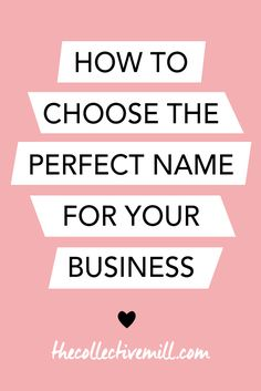 How to Choose the Perfect Name for Your Business: You're starting a new business and need to figure out the name. The problem is you don't know where to start because it's such a big decision. The name of your company might be around for the next ten, twenty, or thirty years. So you want to make sure and pick a good one. If you're a small business owner, blogger, freelancer, or entrepreneur- click here for a step by step guide on how to choose the perfect name for your new business…