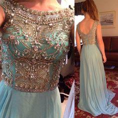 Scoop Neckline Rhinestone Beaded V-back Long A-line Blue Chiffon Prom Dresses, BG0130