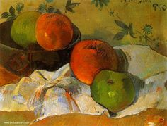 Apples in Bowl by Paul Gauguin in oil on canvas, done in Now in a private collection. Find a fine art print of this Paul Gauguin painting. Paul Gauguin, Henri Matisse, Cezanne Still Life, Paul Cézanne, Henri De Toulouse Lautrec, Georges Seurat, Large Canvas Prints, Art Prints, Impressionist Artists