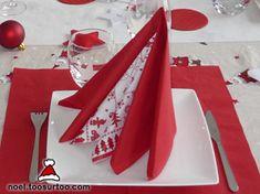 pliage de serviette deux pyramides