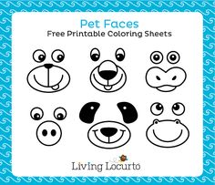 Pet Faces Free Printable Coloring Sheets