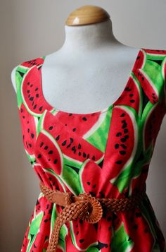 Jennifer Lilly Handmade Lovely Tropical Red and Green Water Melon Dress, $30.00