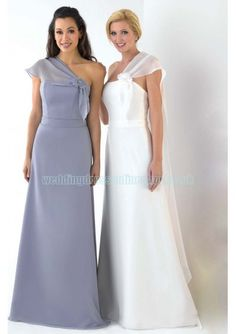 Wedding dress online shop - Satin and Chiffon Strapless Style with Plain Shawl Floor Length Slim Skirt Grey or White 2011 Bridesmaid Dress BM-0573