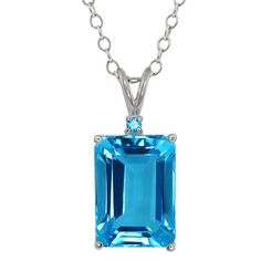 972 Ct Octagon 14x10MM Swiss Blue Topaz and Simulated Topaz 925 Silver Pendant >>> You can get more details by clicking on the image.(This is an Amazon affiliate link and I receive a commission for the sales)