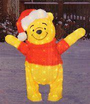 "PRODUCT WORKS 90264: 32"" Pre-Lit Disney Winnie the Pooh Soft Tinsel Christmas Yard Art Decoration U$60"