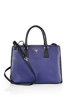 Prada Saffiano Lux Two-Tone Double-Zip Leather Tote