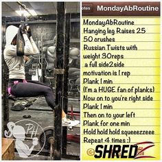 Good Afternoon #FitFam Since Secrets Don't make Friends ➡ I thought I'd share my Monday Ab Routine. Start the week out right with Some Monday Motivation! #TeamGetShredded.