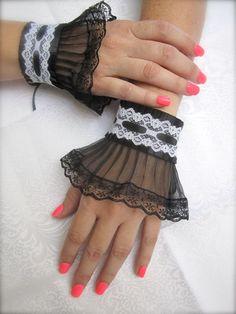 Victorian Wrist Cuffs Bracelet Black and White. by JoolaDesigns, $29.50