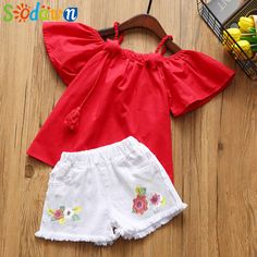 Sodawn Girls' Suits Summer 2018 Children's T-shirt + Embroidered Shorts Kids' Wear Two-piece Fashion Kids Set Girls Clothing Outfits Niños, Kids Outfits, Summer Baby, Summer Girls, Fashion Kids, Summer Outfits 2017, Stylish Baby Clothes, Clothes 2018, Baby Girl Newborn