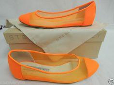 Stella McCartney Fluorescent Orange Mesh Cap Toe Flats