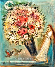 """Celebration VII"" oil on canvas 24x30  2013   © Shijun Munns   www.shijunart.com  #Art #OilPaintings #SpringArt  #painting  #flower #bossom #Spring #Portrait #artwork #originalart #artist #homedecor #wallart #gallery #exhibit #create #collection #women #Artist #ShijunArt #ShijunMunns www.shijunart.com"