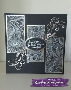 8x8 card using Crafter's Companion Regency Swirls 3D embossing folder. Designed by Becky Turner #crafterscompanion