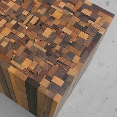 Wood Furniture & Decor :: Wood Table / Seat / Stool / Ottoman. Mixed / Varied Wood, Light, Dark, Mosaic-very cool