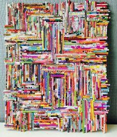 Gezien op fb. Papier van folders op sateprikker rollen en op boardplaatje of triplex plakken.