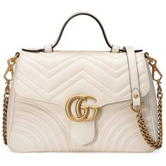 Gucci Gg Marmont Small Top Handle Bag ($2,590) ❤ liked on Polyvore featuring bags, handbags, white, chain handle handbags, leather purses, gucci purse, white leather handbags and top handle bags