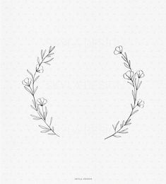 Small Flower Drawings, Small Flowers, Wild Flowers, Wildflower Drawing, Wildflower Tattoo, Baby Tattoos, Flower Tattoos, Flower Tattoo Designs, Flower Wreath Illustration