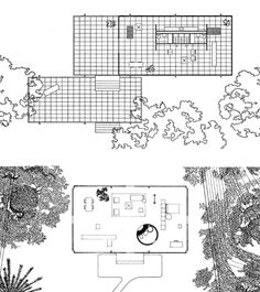Farnsworth House - Mies van der Rohe - 1951 Floor Plan & Section ...