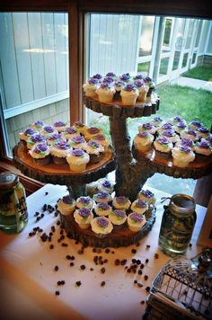 Our most popular item, these cupcake stands are built to order. Every cupcake and cake stand that we sell is custom designed and handcrafted from Rustic Cupcake Stands, Rustic Cupcakes, Cake And Cupcake Stand, Cupcake Cakes, Cake Table, Dessert Table, Wedding Cake Stands, Wedding Cakes, Diy Wedding