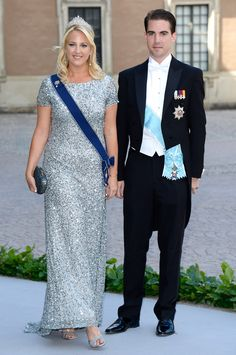Princess Theodora of Greece and Prince Philippos of Greece   royals  silver  gown  navy blue sash royal order