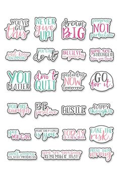 Motivational Stickers – Free Motivational Planner Stickers – Scrapbooking İdeas For İdeas. Homemade Stickers, Diy Stickers, Bullet Stickers, Happy Stickers, Kawaii Stickers, Printable Planner Stickers, Journal Stickers, Stickers For Planners, Free Printables