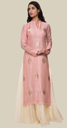 Pastel Pink Banarasi Zari Handwoven Silk-Linen Kurta With Skirt