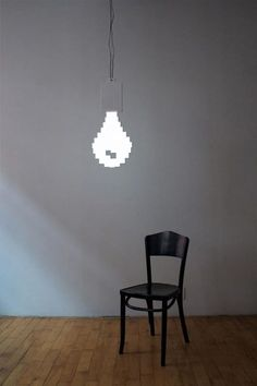 "Pixel Bulb by Marcus Tremonto: Made of ""2D electroluminescent paper"" gives the illusion of 3D."