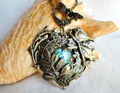 Heart pendant with love birds leafs and by Charsfavoritethings