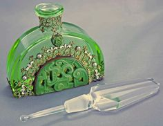 Czech Hoffman Art Deco Jeweled Perfume Bottle from amyantiq