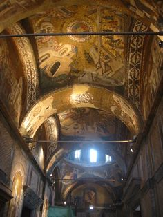 """interior of the former monastery of Christ the Holy Saviour in the Chora, which means """"in the Fields"""", in Istanbul. The church is considered to be one of the most beautiful surviving examples of a Byzantine church. In 16th century it was converted in a mosque. Due the prohibition against iconic images, all mosaics and frescoes were covered behind a layer of plaster. The restoration started in 1949, when the building ceased to be a functioning mosque."""
