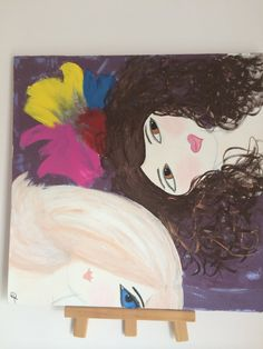 Girlfriends. Original Painting.  Perfect gift for a friend.  20x20 Stretched canvas. Acrylic Painting. on Etsy, $125.00