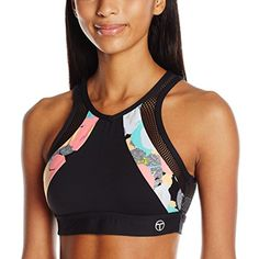 Trina Turk Recreation Women's Pop Camo Mesh Back Cut Out Detailed Sports Bra * Click image to review more details. (This is an affiliate link) #SportsBras