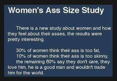 In case this is too small to read.    WOMEN'S ASS SIZE STUDY:       There is a new study about women & how they feel about their asses. The results were pretty interesting.     30% of women think their ass is too fat   10% of women think their ass is too     skinny  The remaining 60% say they don't care, they love him, he is a good man & wouldn't trade him for the world.