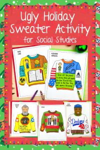 Keep your students engaged before the holiday break with this fun ugly Christmas sweater activity. Students will think critically about their chosen or assigned historical figure as they apply their knowledge to design a custom ugly sweater. Before getting started with the design process, students can read a short article or view the included PowerPoint presentation to learn about the history of ugly holiday sweaters and the different elements that go into their design. Social Studies Activities, History Activities, Teaching Social Studies, Classroom Activities, Fun Activities, Teaching Science, Classroom Decor, Ugly Holiday Sweater, Ugly Sweater