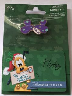 disney parks christmas pluto bone limited pin with empty gift card new