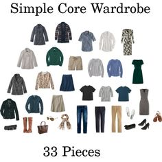 A simple core wardrobe consisting of 33 mix and match pieces for year round wear